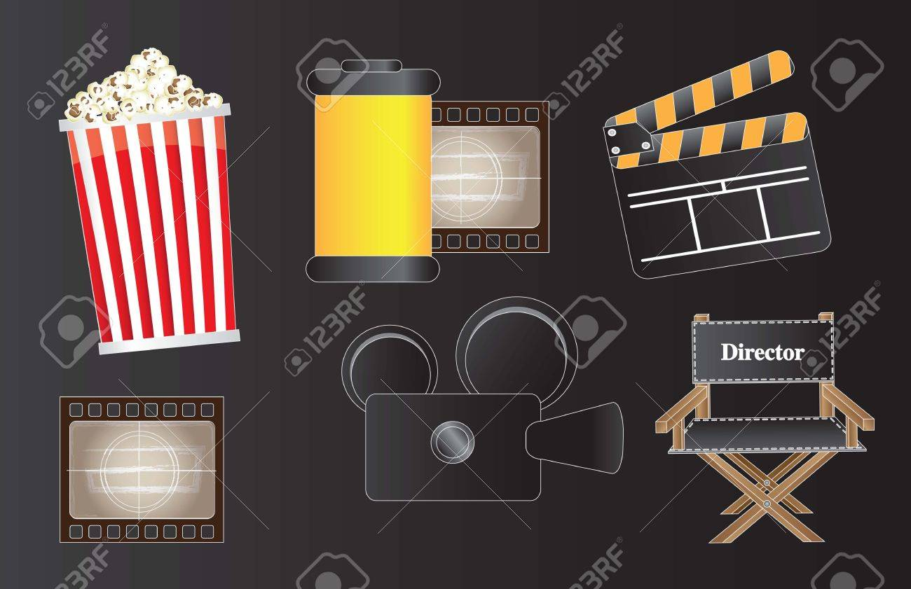 icons of movie, film and cinema over black background Stock Vector - 14792939