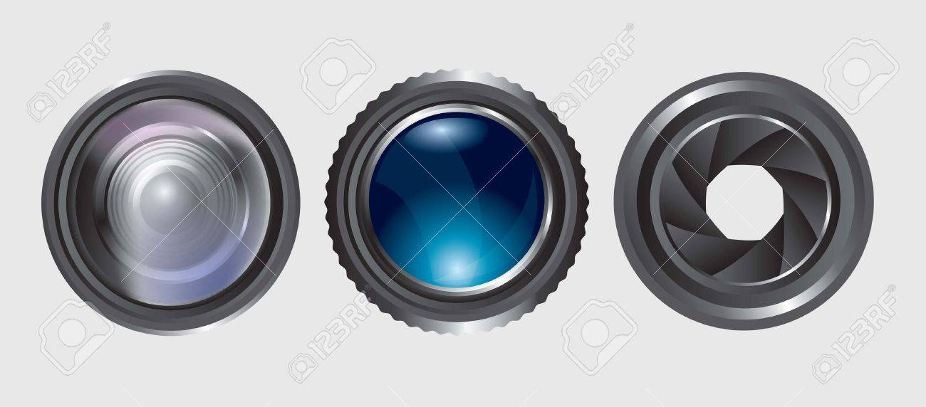 variety of lenses in different positions over white background Stock Vector - 14792850