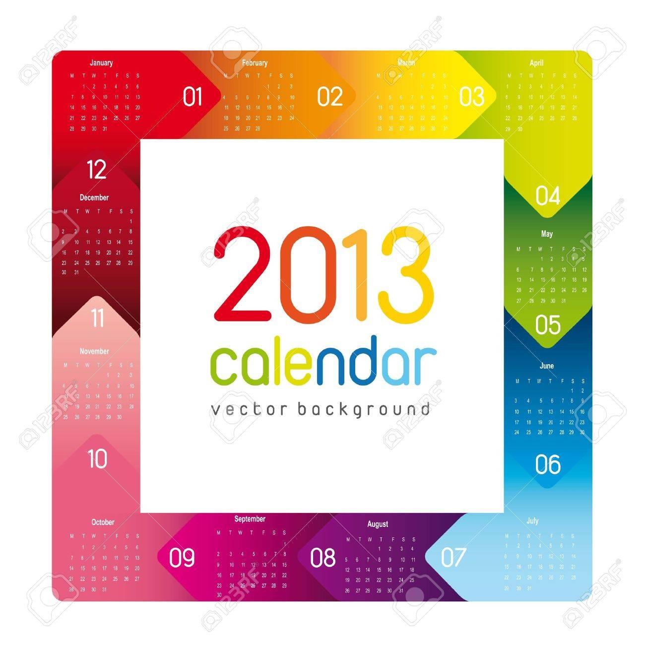 colorful 2013 calendar, square shape. vector illustration Stock Vector - 14877111