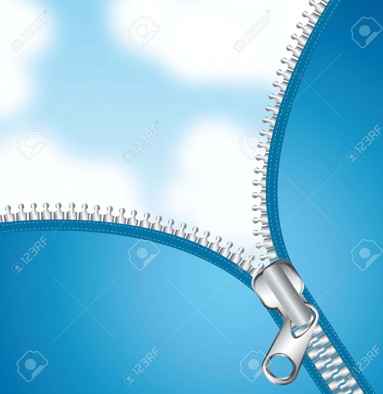 metallic zipper over sky background. vector illutration - 14877162