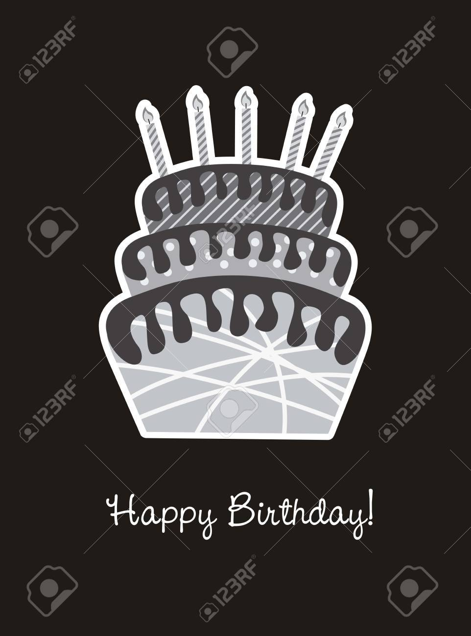 birhday card with cake, black and white. vector illustration Stock Vector - 14944629