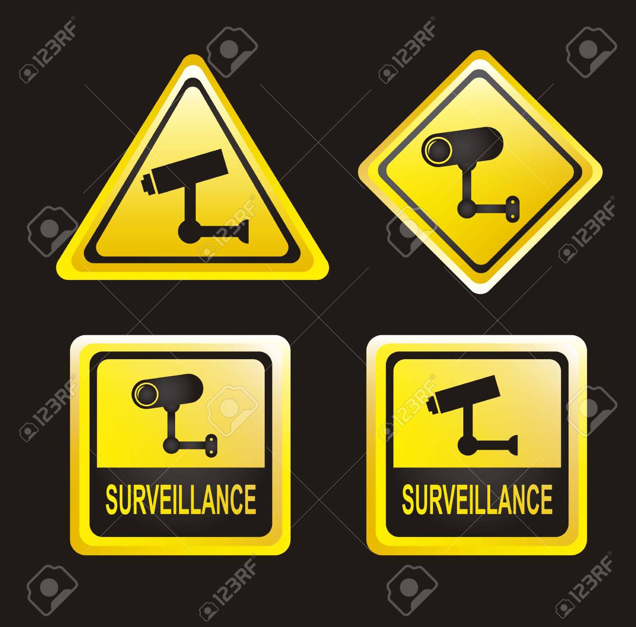 surveillance signs isolated over black background. vector illustration Stock Vector - 14944575