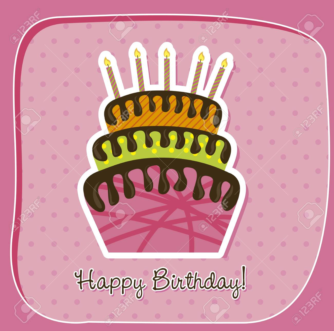 birthday card with cake over pink background. vector Stock Vector - 14944570