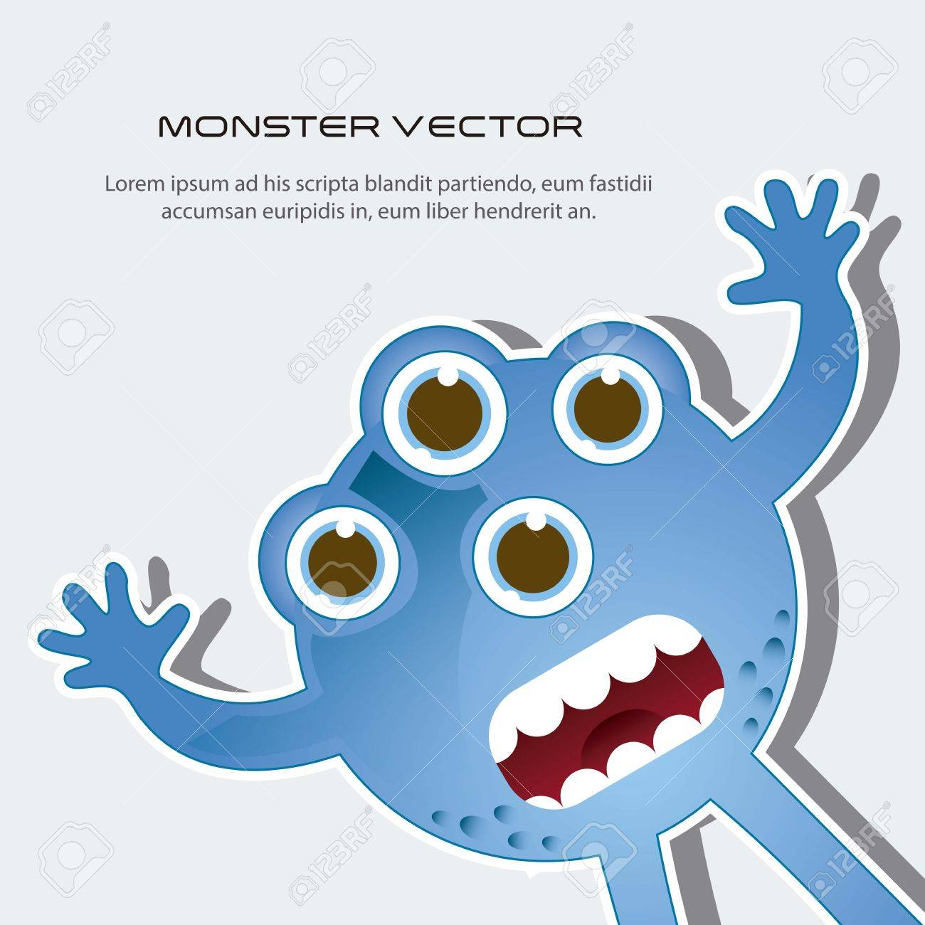 blue scared monster with space for copy. vector illustration Stock Vector - 14944562
