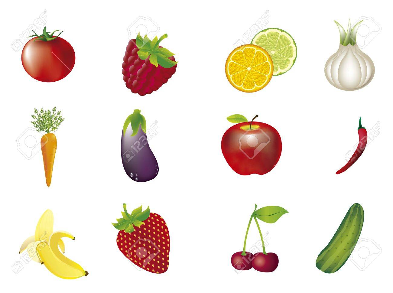 vegetables and fruits isolated over white background. vector Stock Vector - 14944500