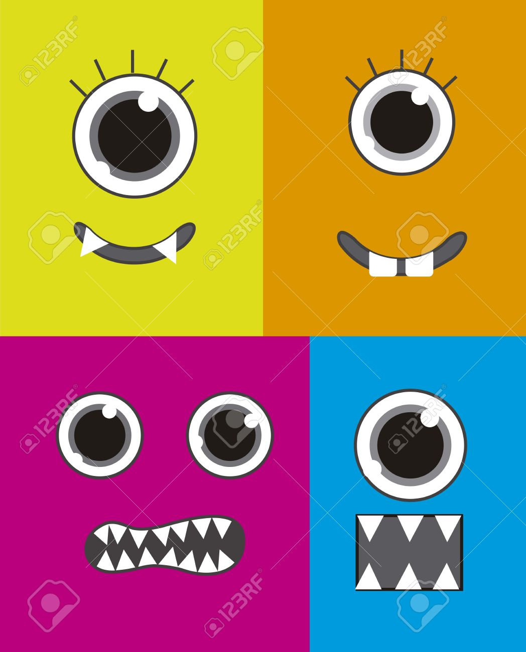 four  monster faces background, colorful. vector illustration Stock Vector - 14944572