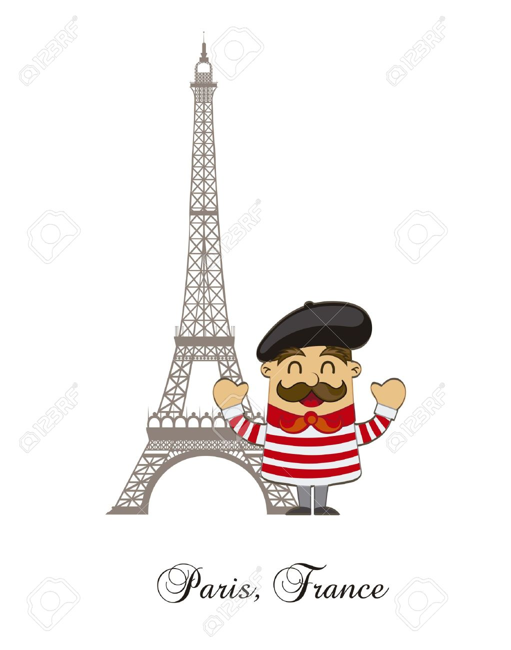 Cartoon French With Tower Eiffel Over White Background Vector Royalty Free Cliparts Vectors And Stock Illustration Image 14944401