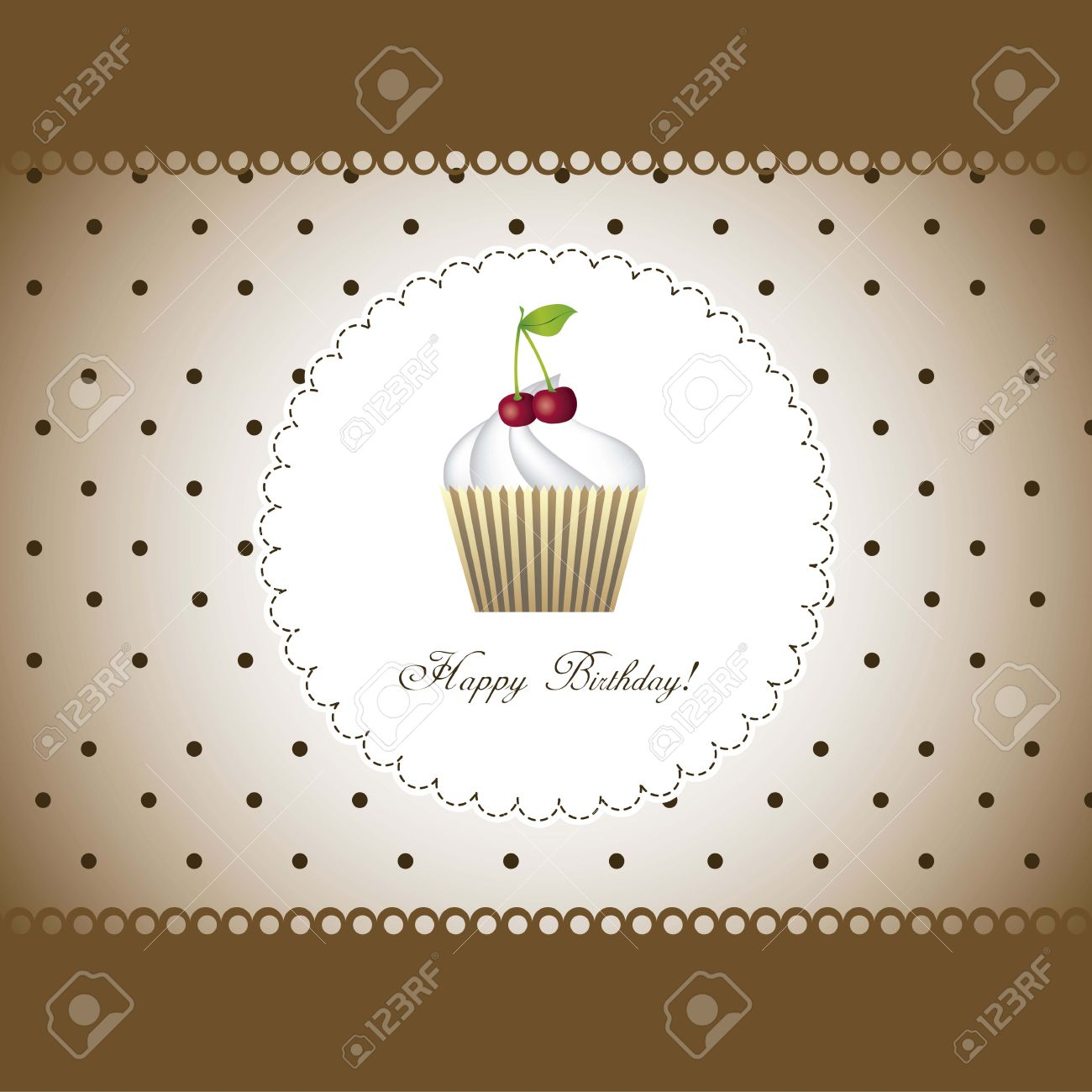 happy birthday card with cupcake over brown background - 15068225