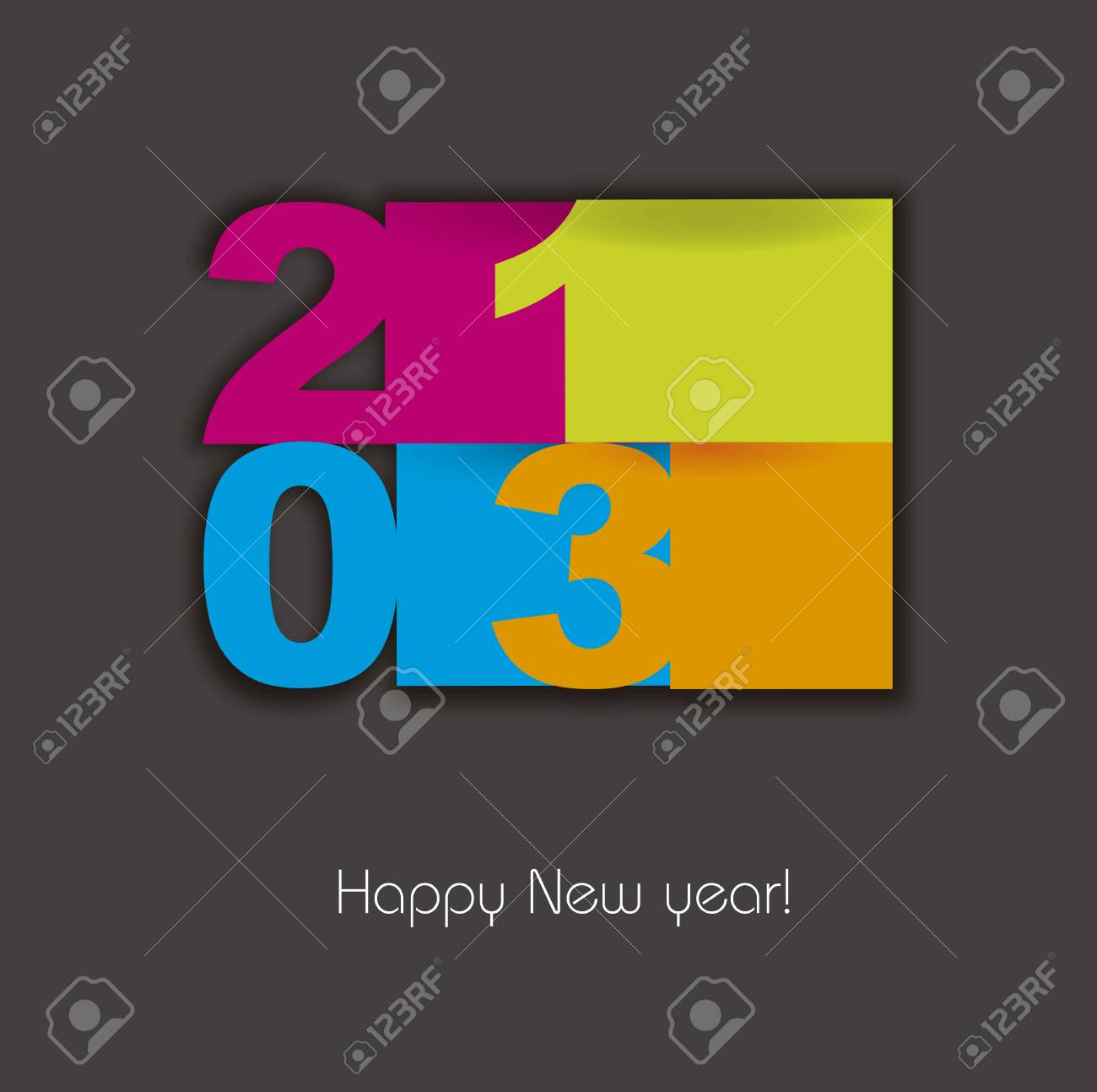 happy new year 2013 over gray background illustration Stock Vector - 15068061