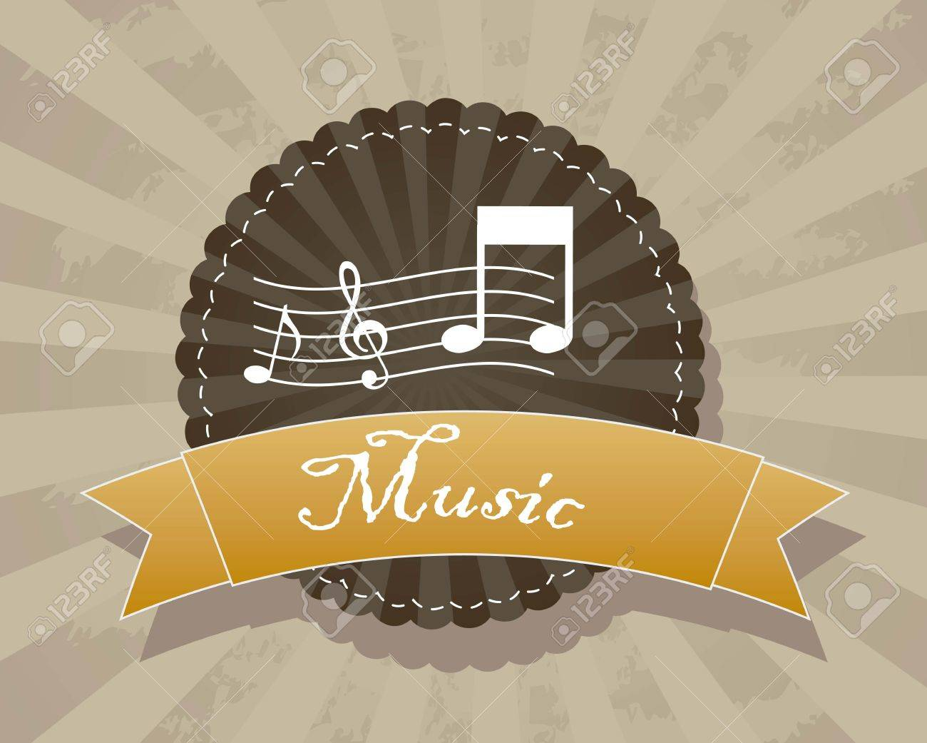 music label over grunge background. vector illustration Stock Vector - 15136067