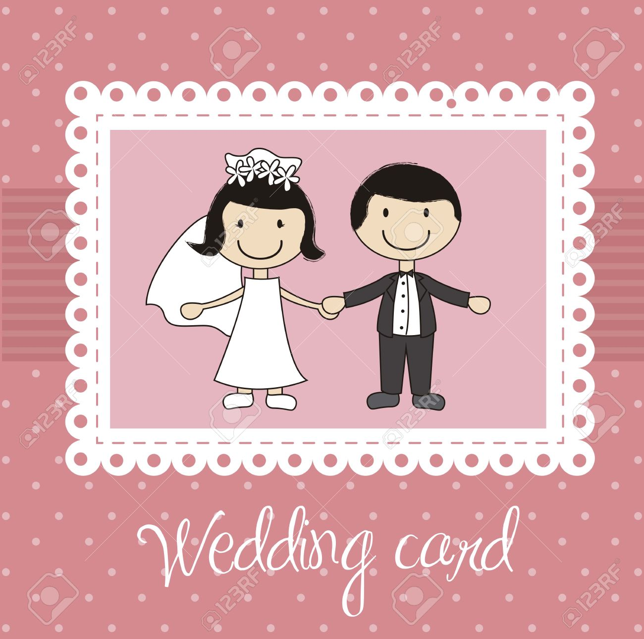Pink Wedding Card With Cute Couple Royalty Free Cliparts Vectors