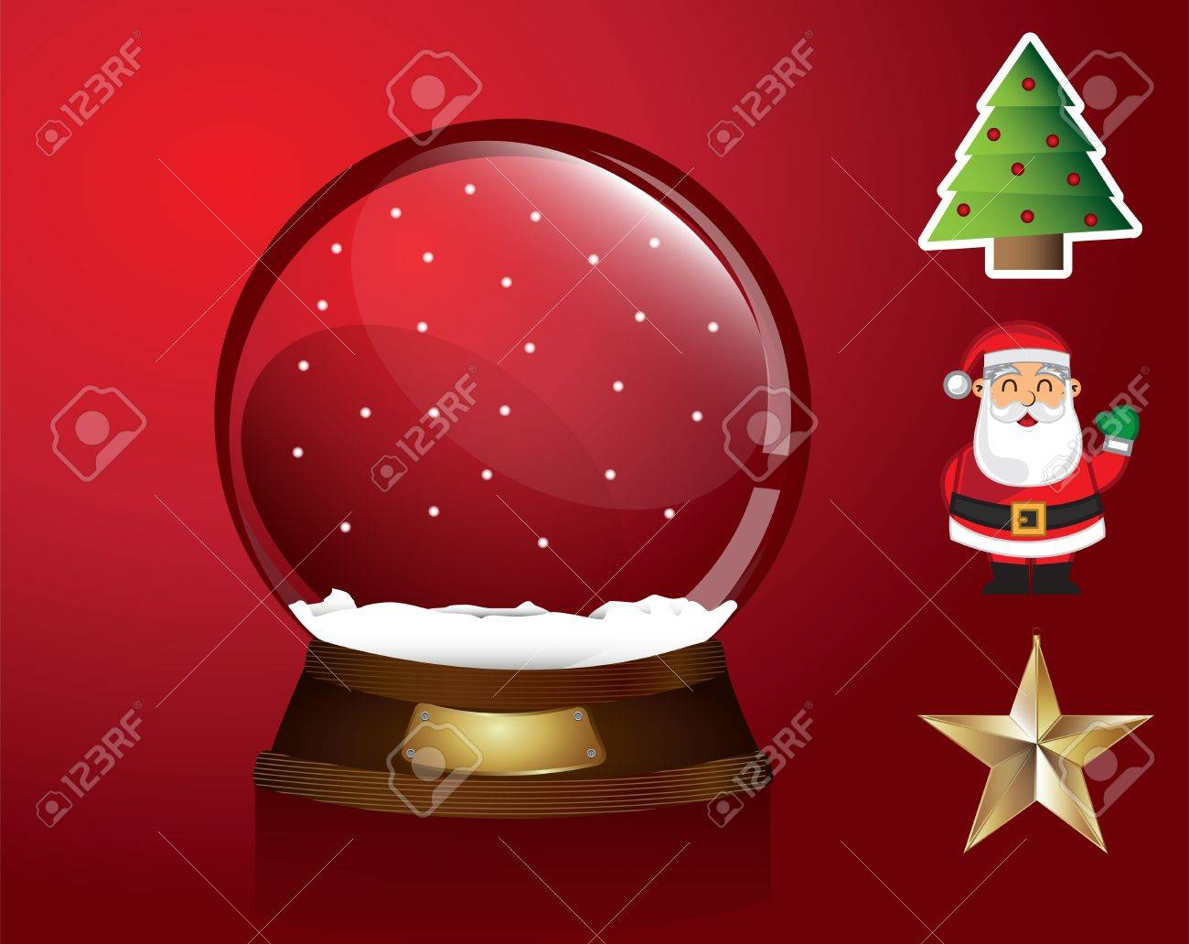 Christmas symbols around like a snowball tree, star, santa over red background Stock Vector - 15323395