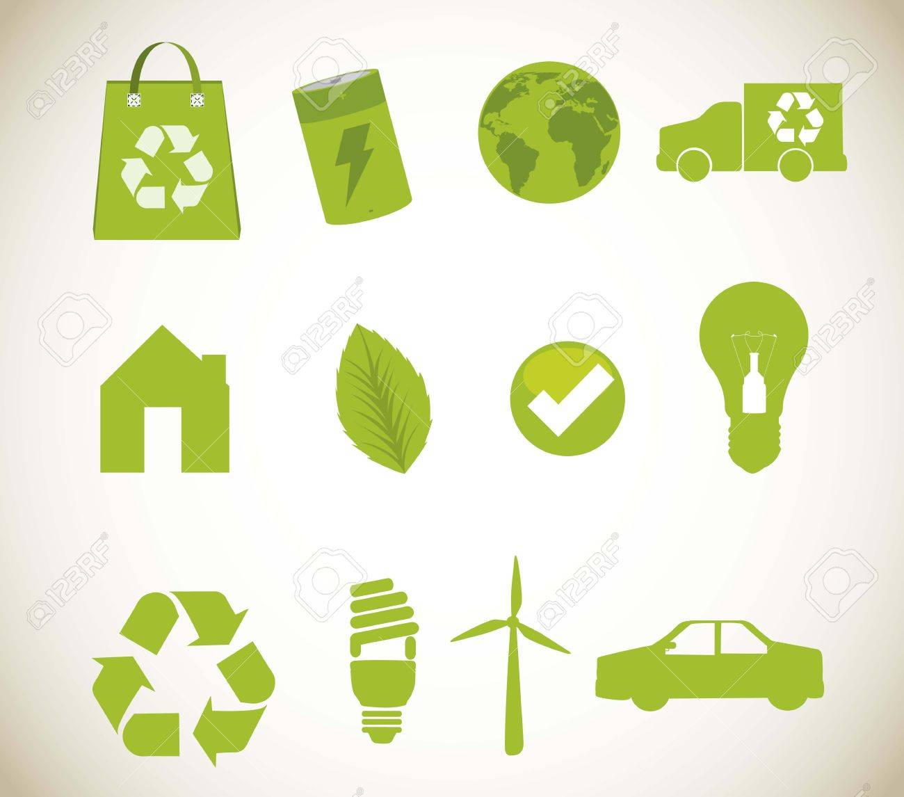 green recycle icons over beige background. vector illustration Stock Vector - 15379028