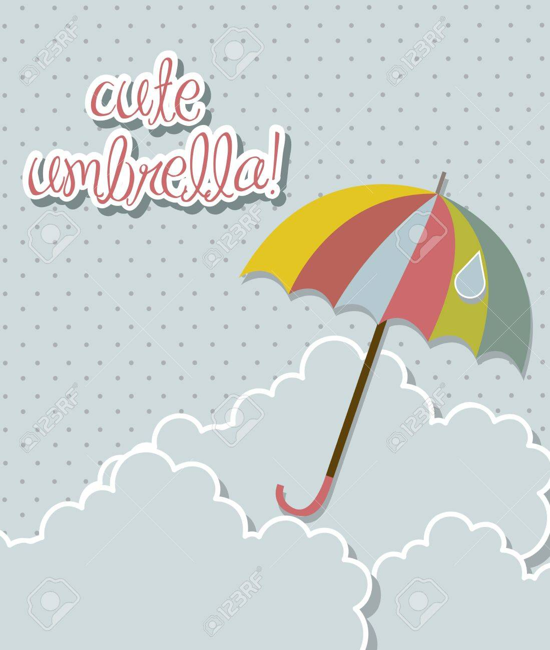 cute umbrella with clouds over sky background. vector illustration Stock Vector - 15379313
