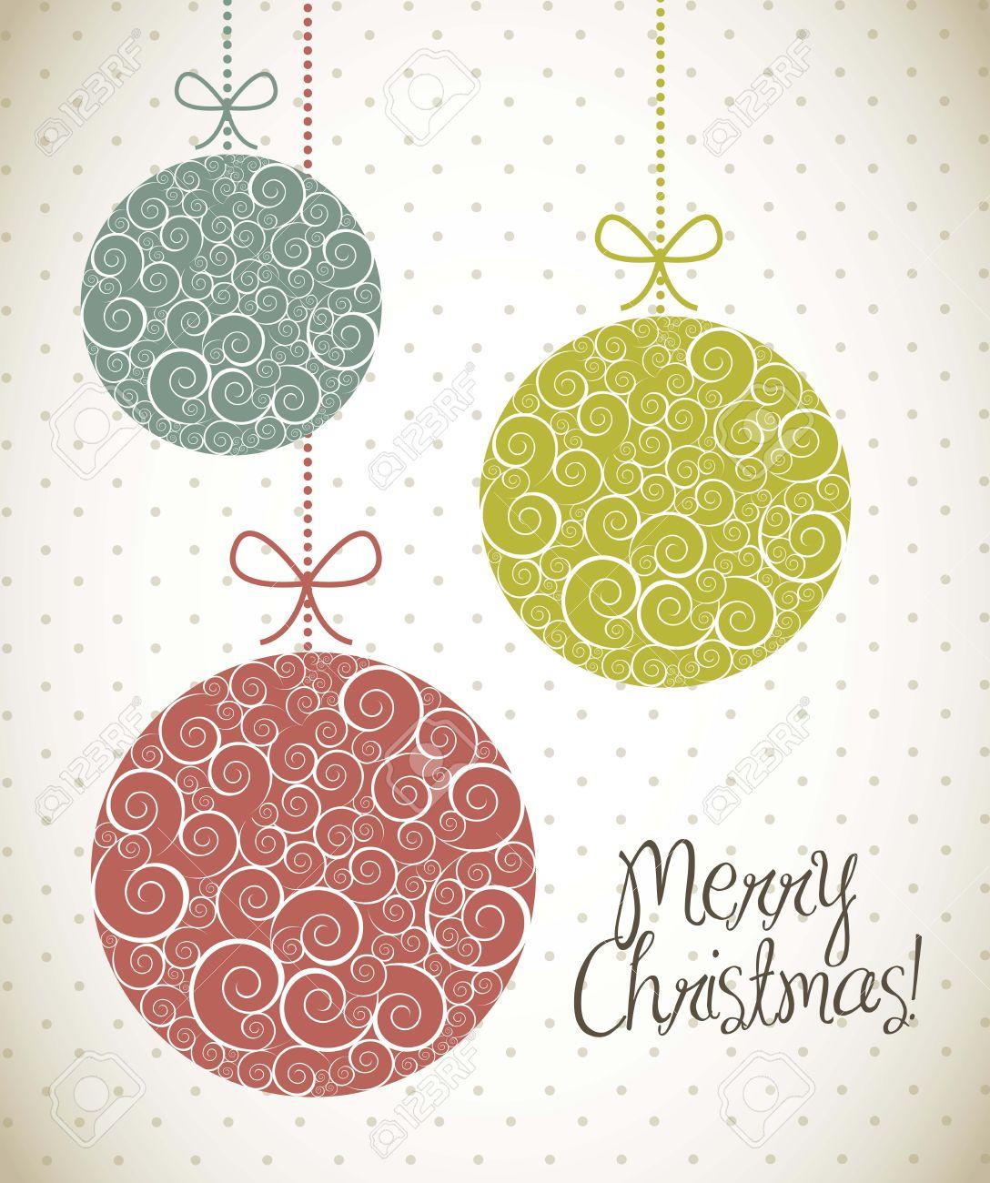 bolas de navidad con el ornamento estilo vintage ilustracin vectorial foto de archivo