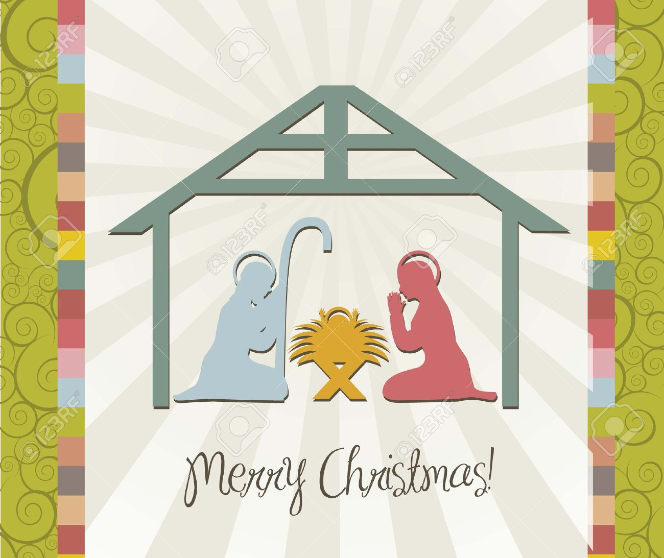 Merry Christmas Card Of Nativity Scene Vintage Vector Stock