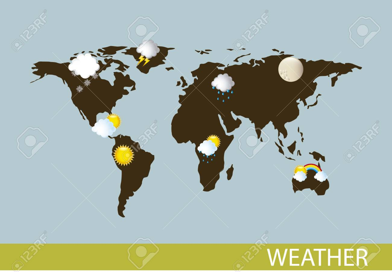 weather with map over blue background. vector illustration Stock Vector - 15540104