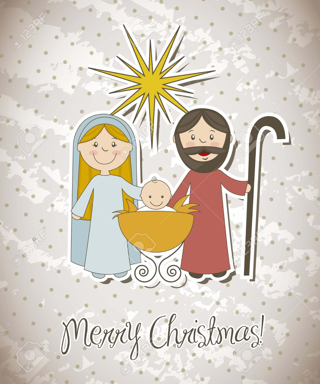 Christmas Card With Nativity Scene. Vector Illustration Royalty Free ...