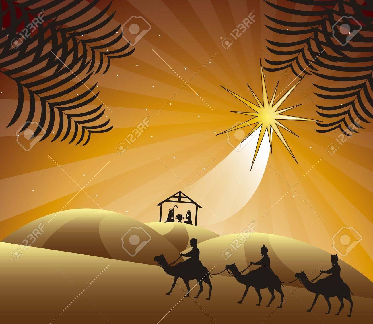 nativity scene with wise men. vector illustration - 15540148