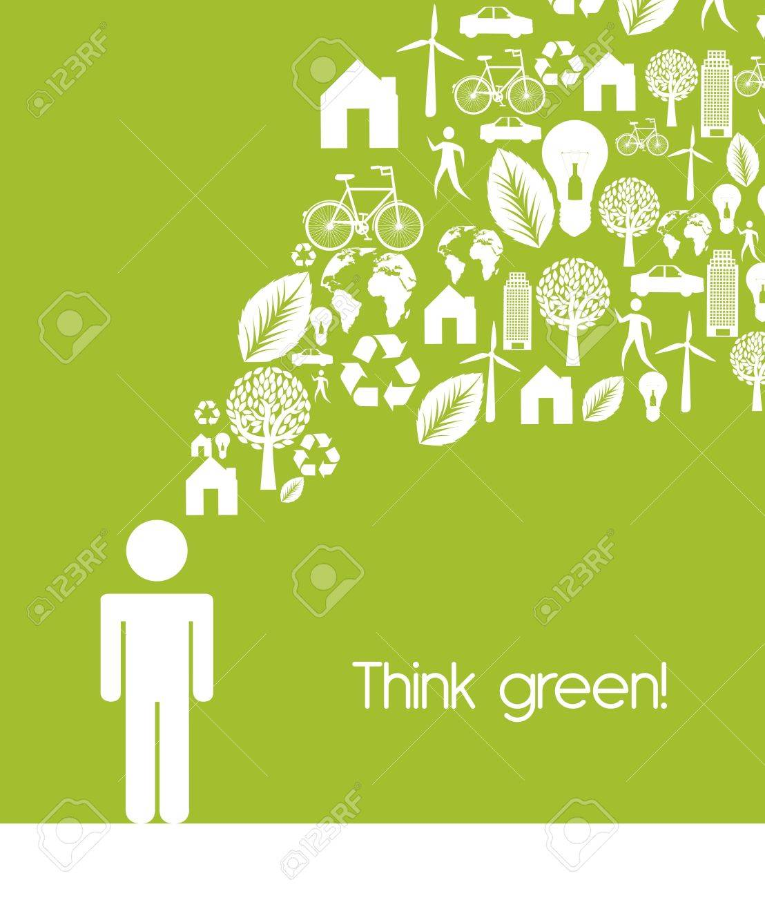 men sign with ecology icons, think green. - 15668151