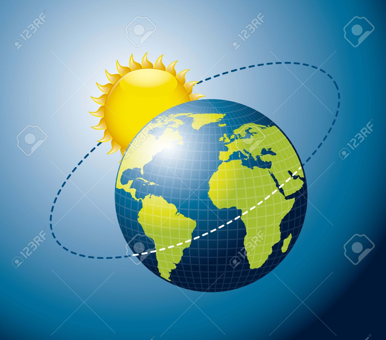 Earth movement around the Sun over blue background. Stock Vector - 15668130