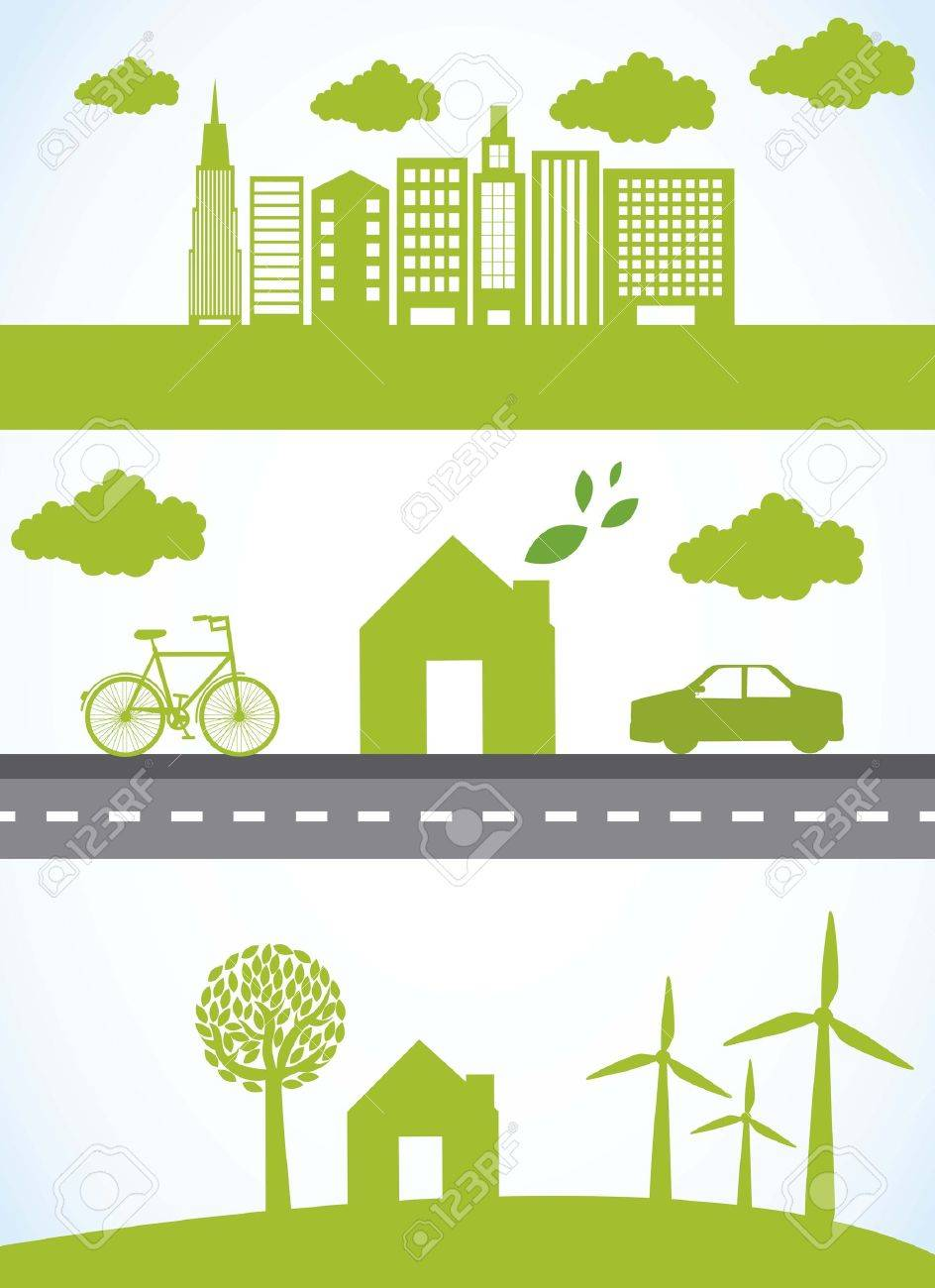 green city with car and bike, ecology. Stock Vector - 15667820