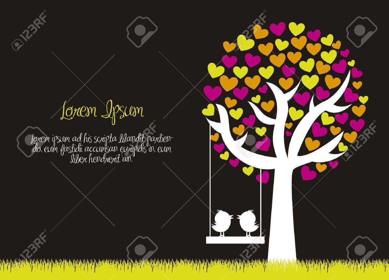 love tree with birds over grass, black background. vector Stock Vector - 15787130