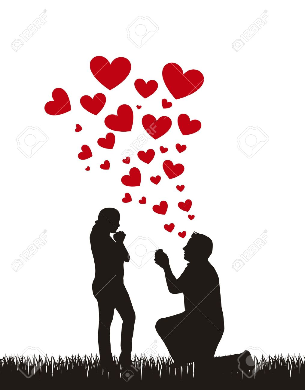 couple silhouette with hearts, proposal wedding. Stock Vector - 15786881