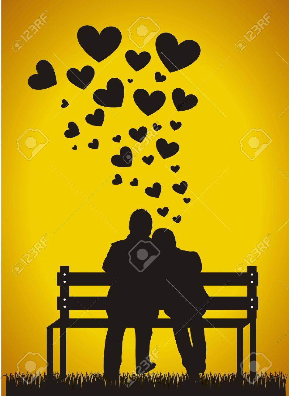 couple sitting silhouette with hearts over orange background. Stock Vector - 15786891
