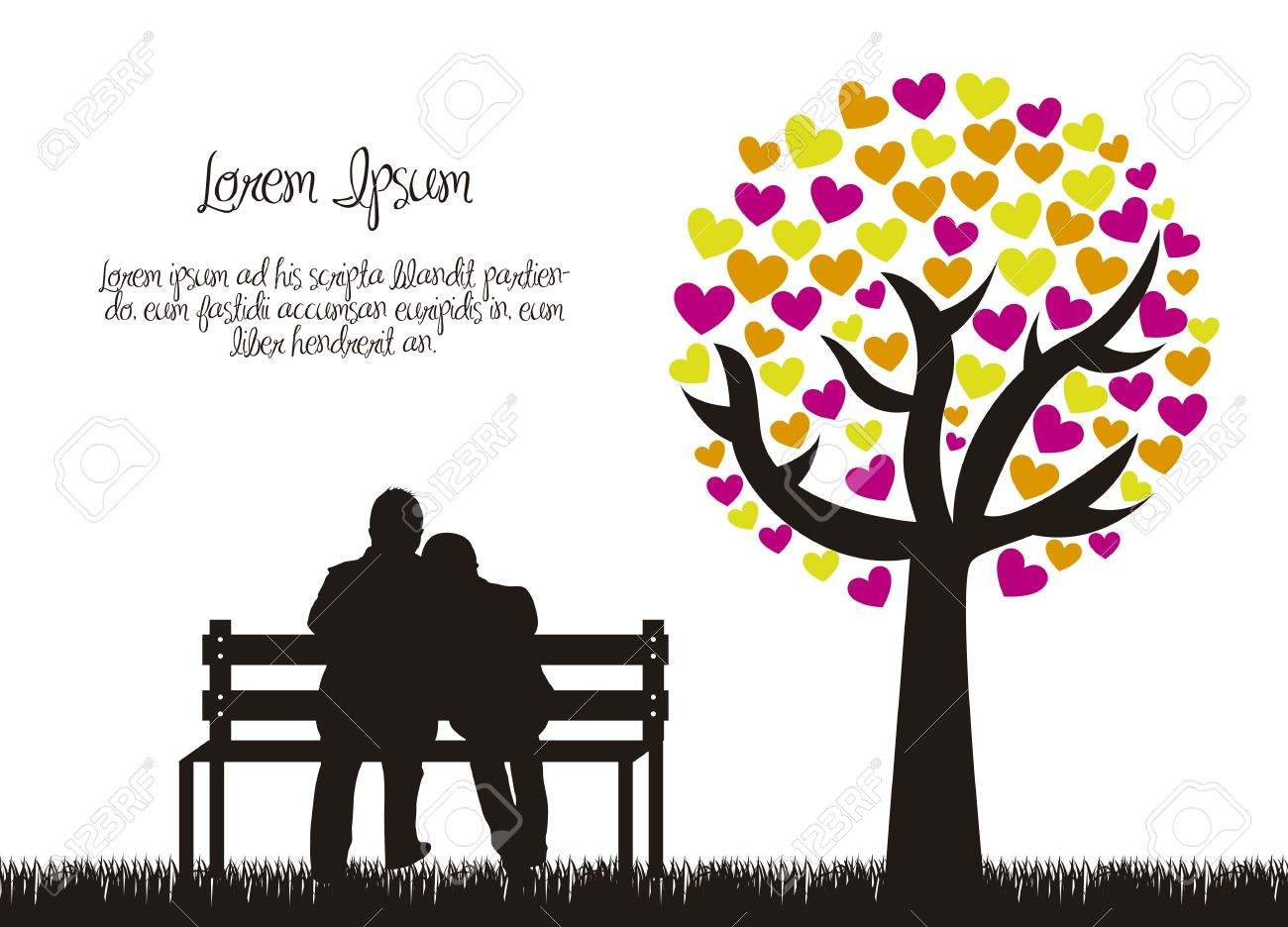 couple silhouette with love tree. Stock Vector - 15787036