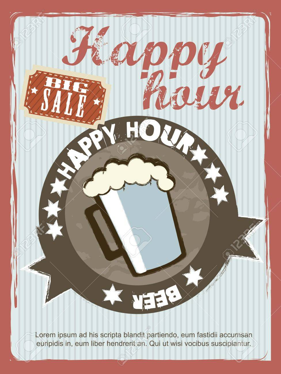 happy hour announcement, vintage style. Stock Vector - 15787413