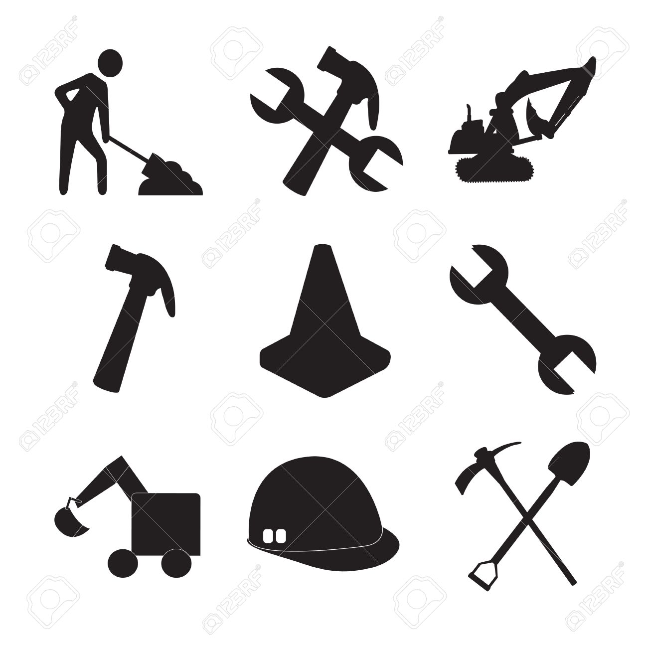 Construction tools silhouettes and a man working royalty free construction tools silhouettes and a man working stock vector 15888760 biocorpaavc Images