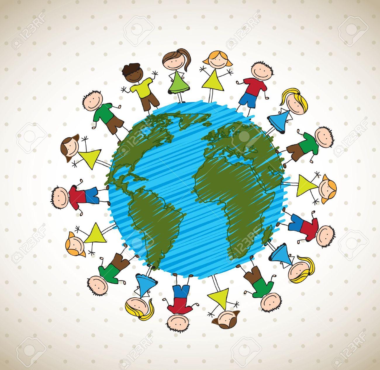 many happy children around the world vector illustration Stock Vector - 15888571