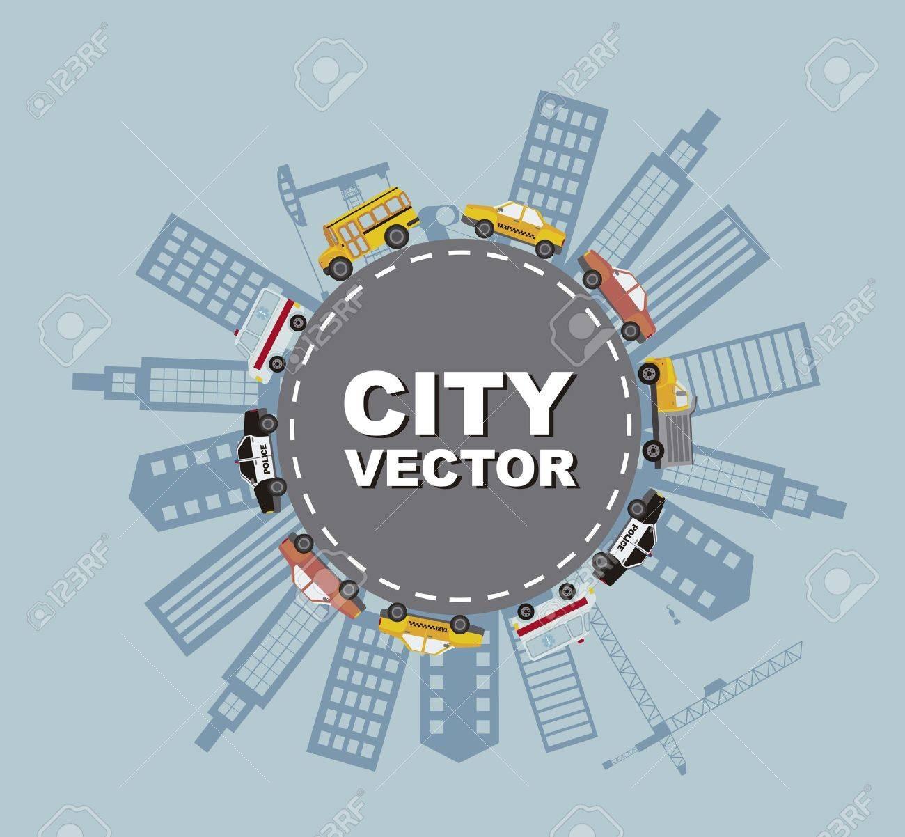 buildigns with cars, cartoon. vector illustration Stock Vector - 15888822