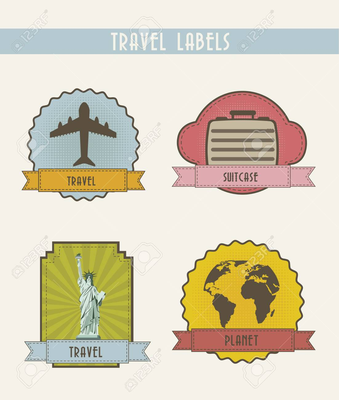 four travel labels, vintage style. vector illustration Stock Vector - 15888602