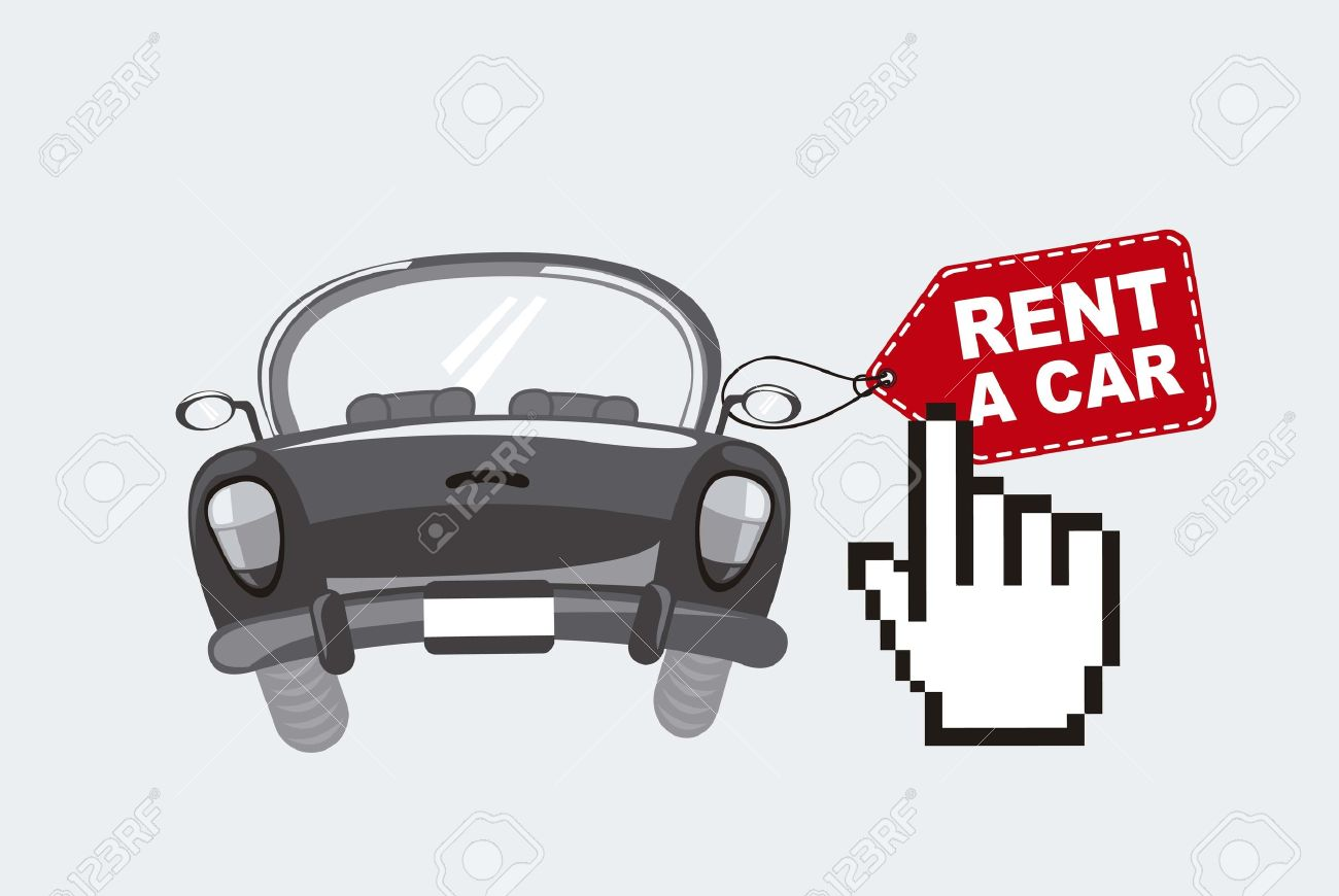 rent a car with cursor hand, black and white. - 16032159