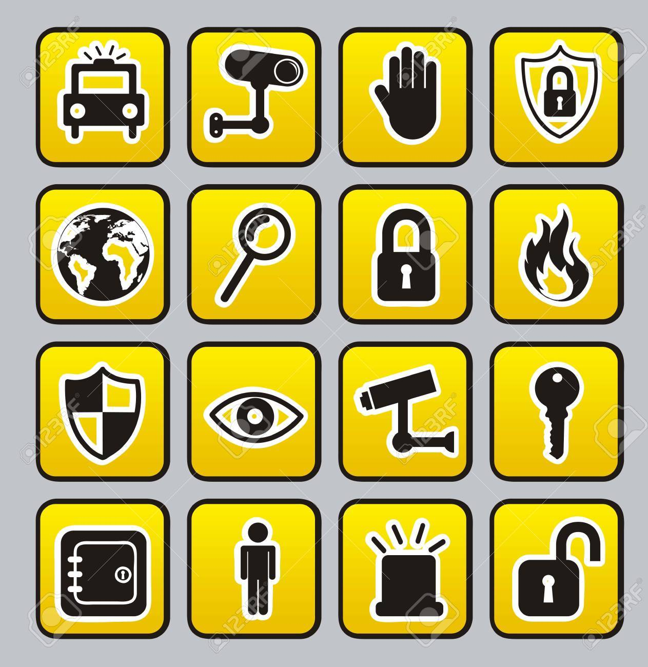 yellow security buttons over gray  background. vector Stock Vector - 16124615