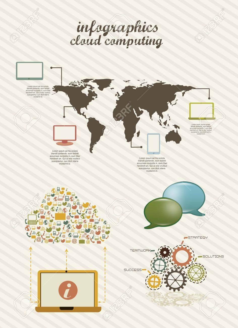 infographics cloud computing, vintage style. vector illustration Stock Vector - 16290319