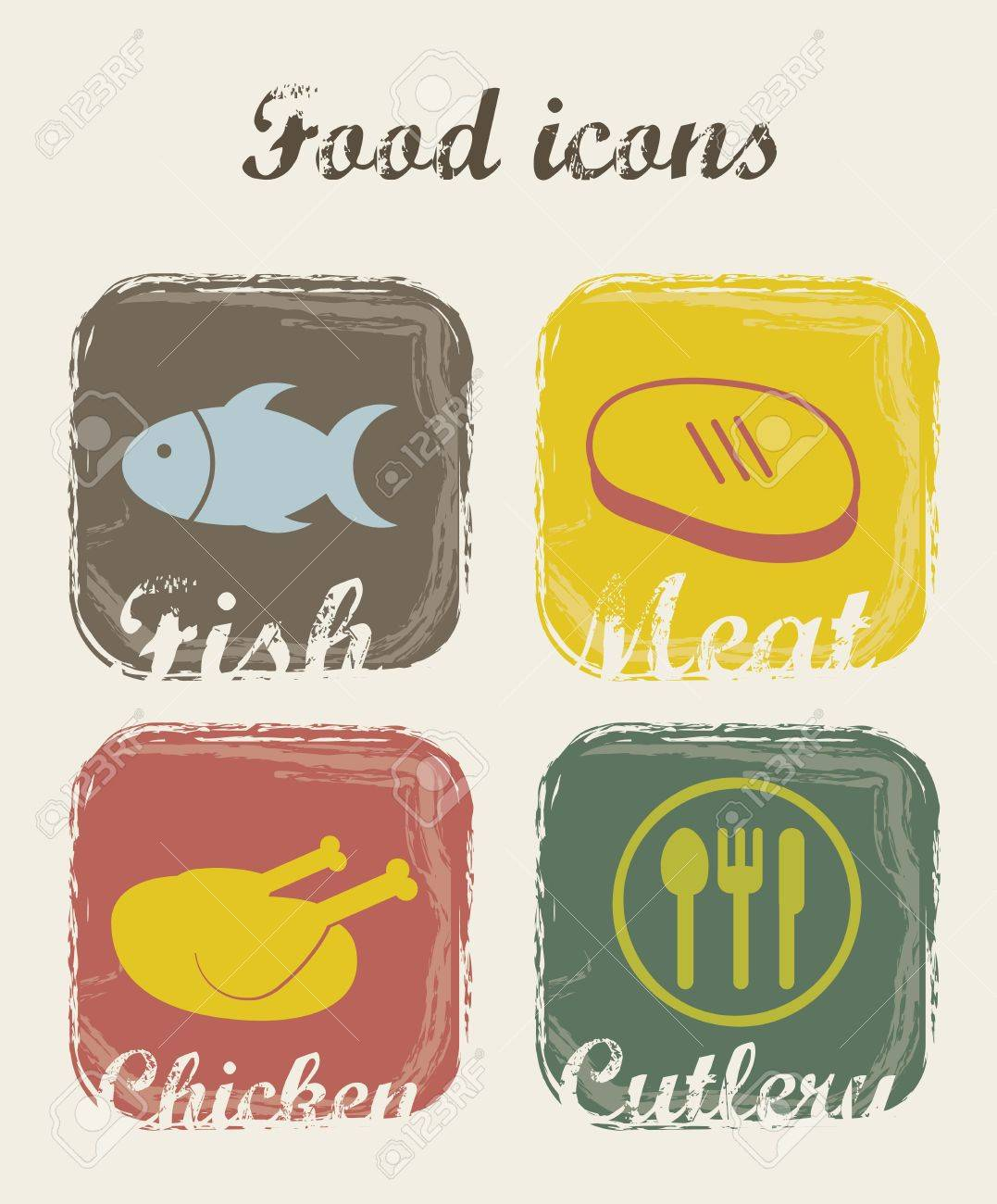 food icons over beige background. vector illustration Stock Vector - 16288645