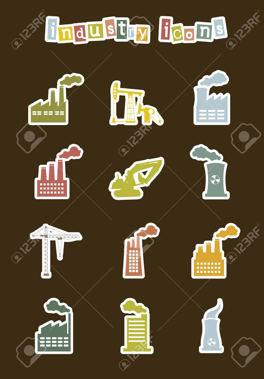 industry stickers over brown background. vector illustration Stock Vector - 16287899