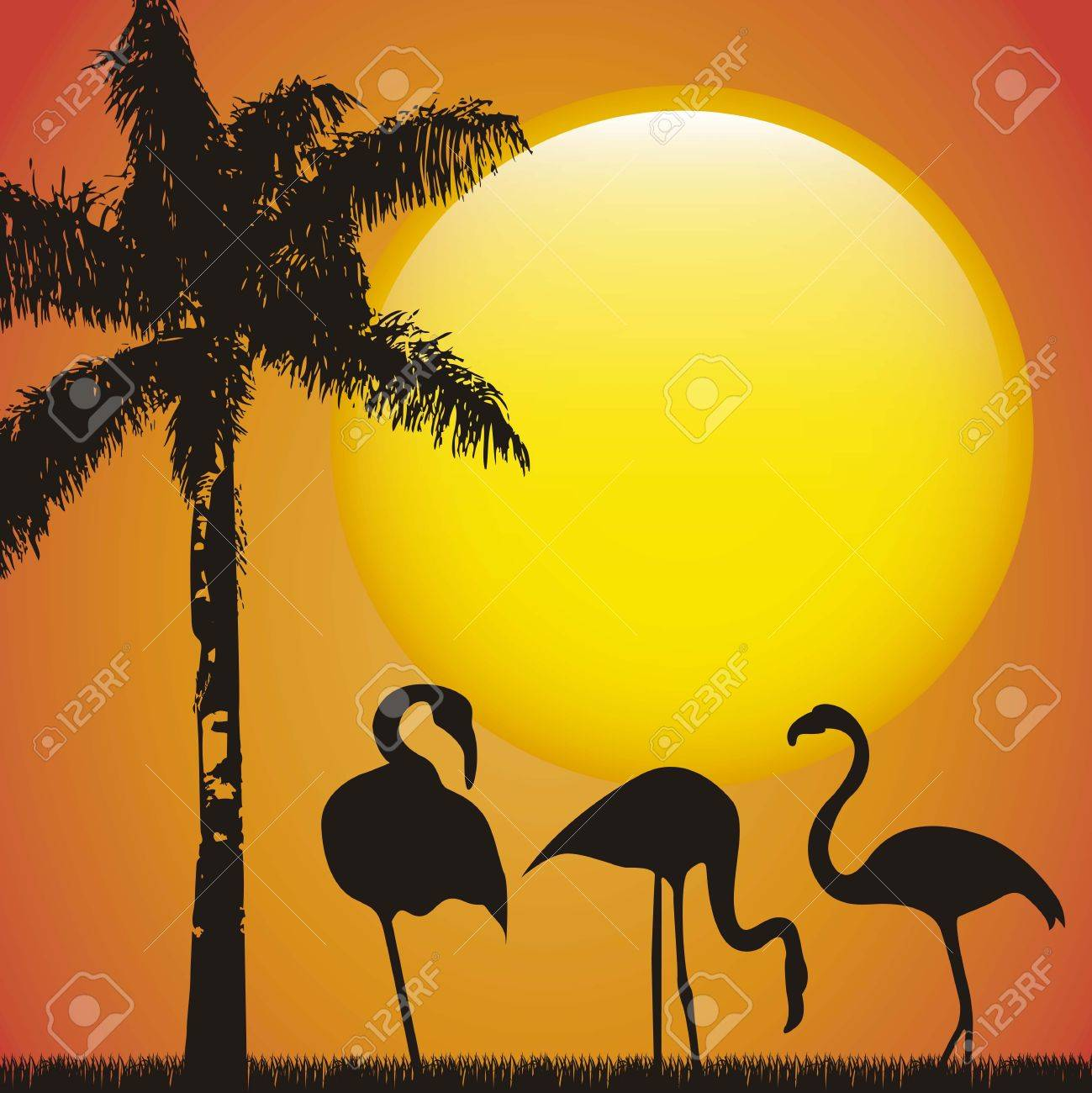 flamingo over late afternoon background, animal. vector illustration Stock Vector - 16287905