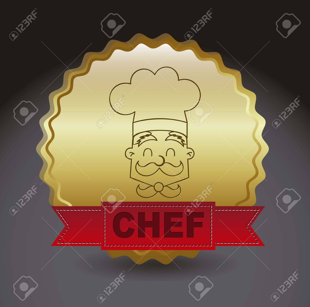 chef icon over gold ribbon over black background. vector Stock Vector - 16287937