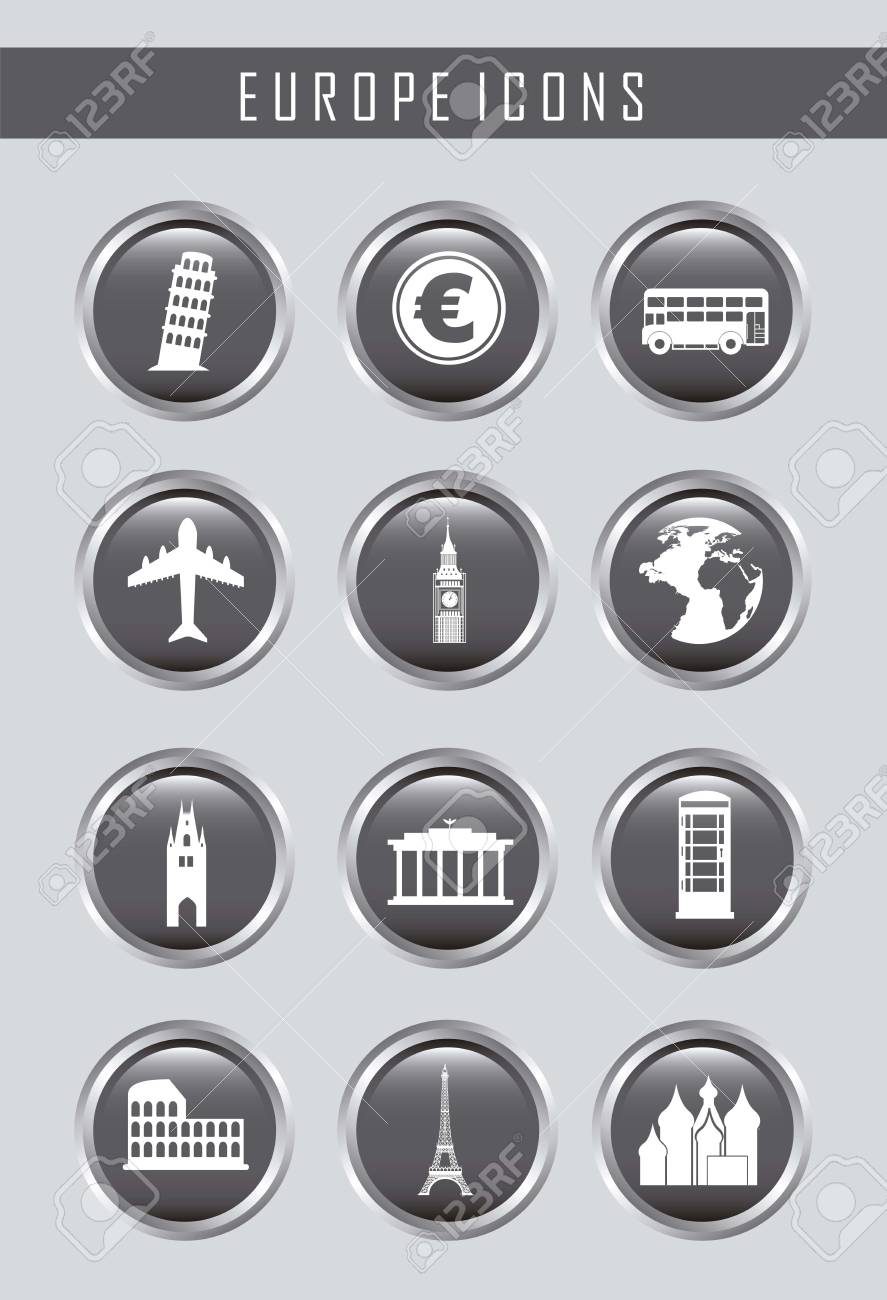 europe icons over gray background. vector illustration Stock Vector - 16287907