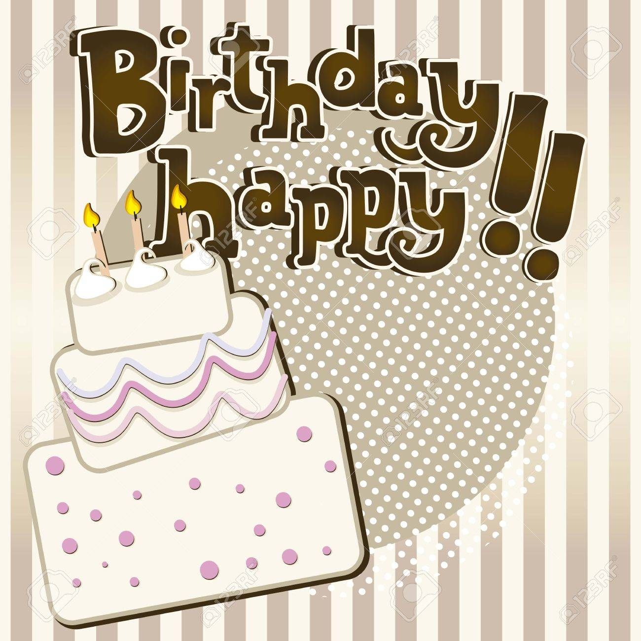 Birthday Cake Vintage With Stripes Royalty Free Cliparts Vectors