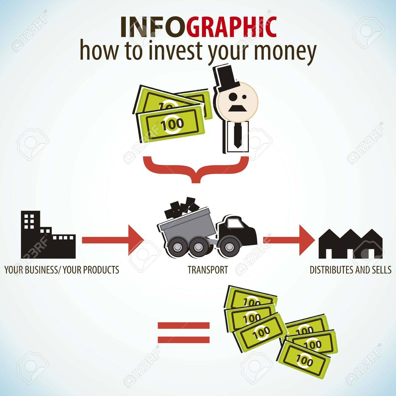 Infographics Icons, How To Invest Your Money Stock Vector  16288073