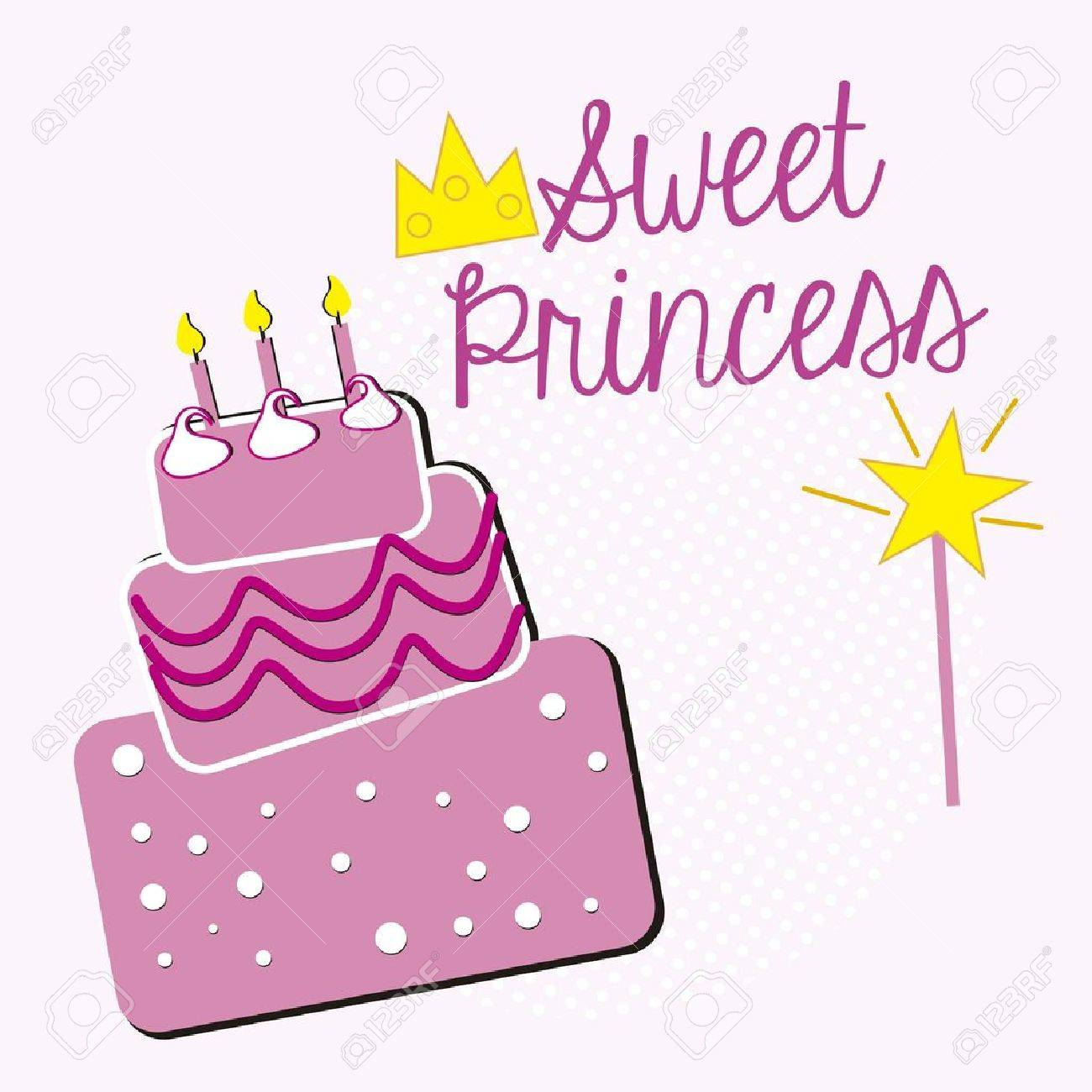 Sweet Princess Birthday Cake Stock Vector