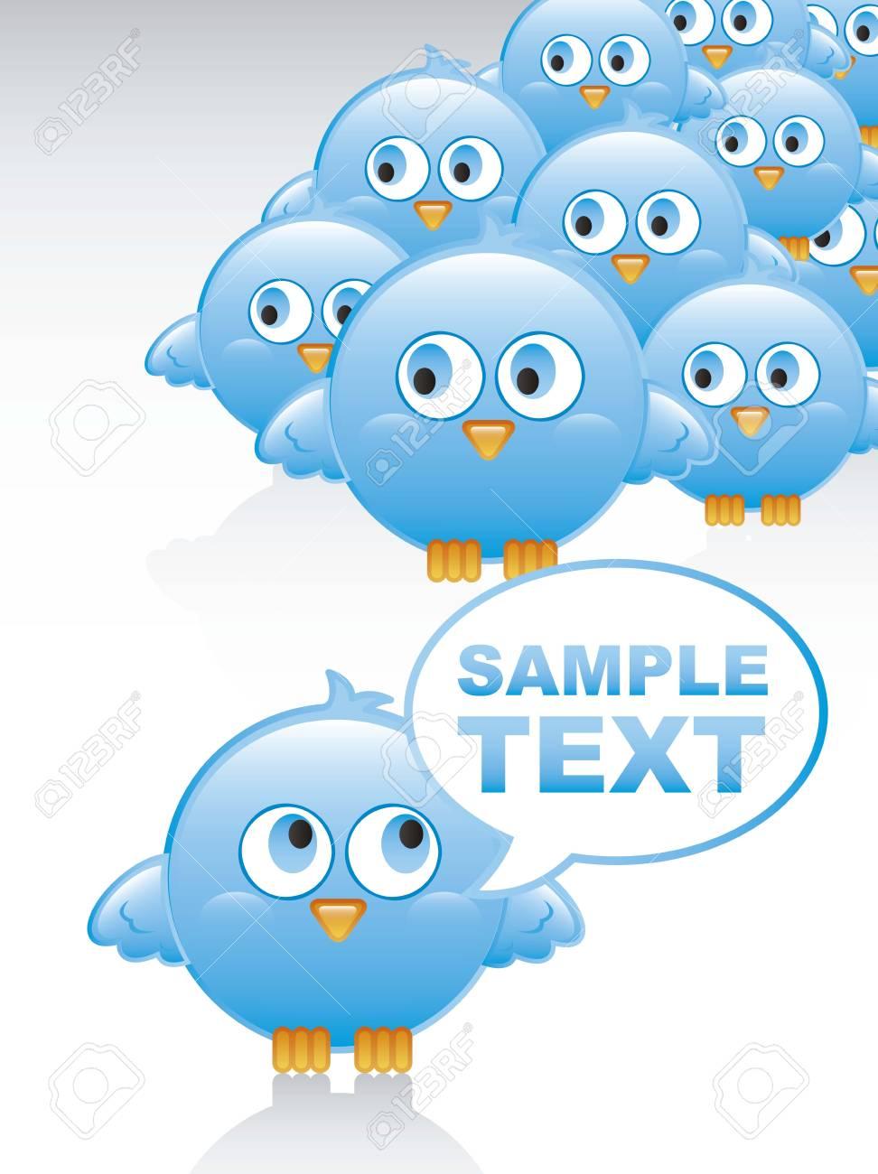 blue bird with balloons text over white background. vector illustration Stock Vector - 16404575
