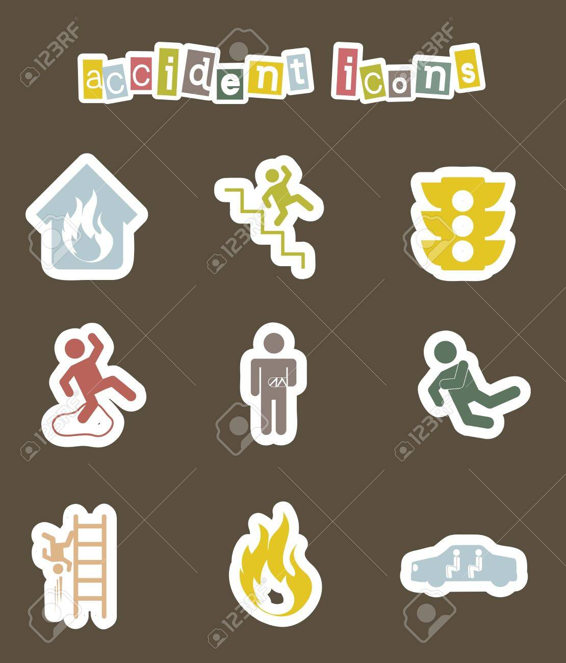 accident icons over brown background. vector illustration Stock Vector - 16404655