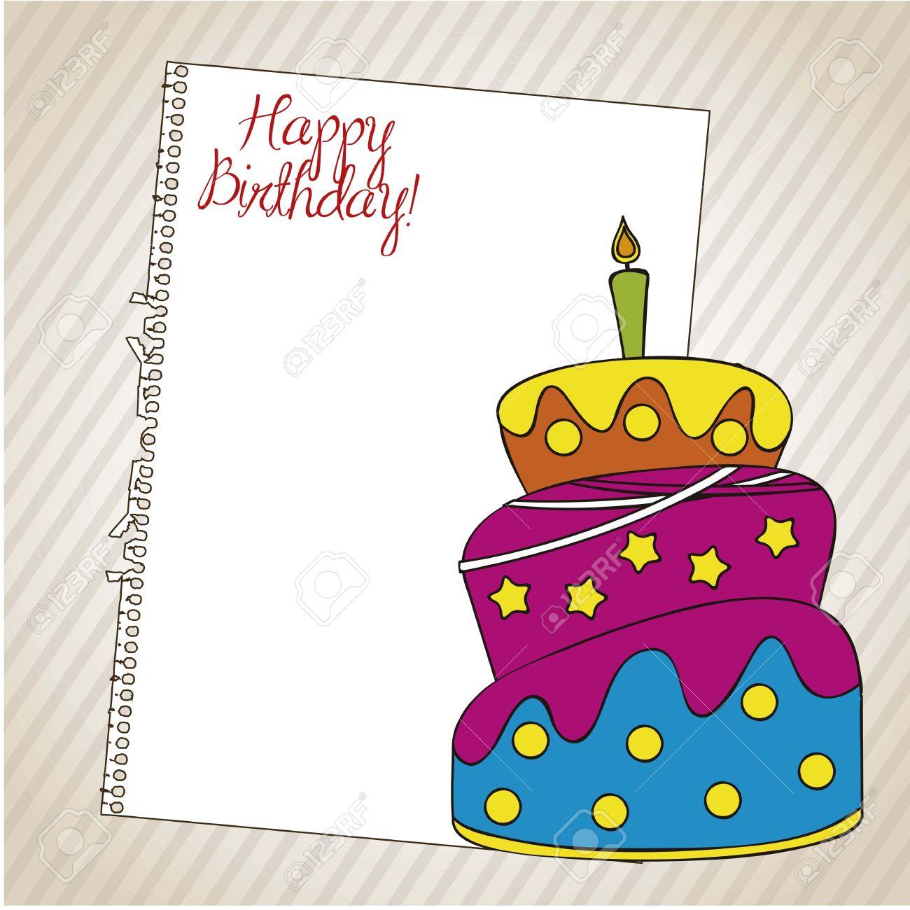 foto de archivo tarjeta de cumpleaos con un pastel y papel sobre fondo blanco