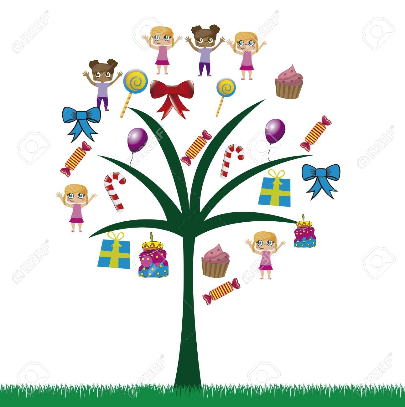 birhday icons in a tree over white background vector illustration Stock Vector - 16477331